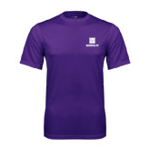 Performance Purple Tee-Vertical Logomark w/Text