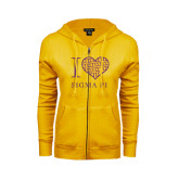 ENZA Ladies Gold Fleece Full Zip Hoodie-I Love Sigma Pi