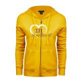ENZA Ladies Gold Fleece Full Zip Hoodie-Script Sweetheart w/ Heart
