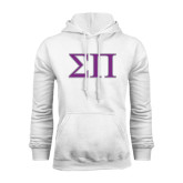 White Fleece Hoodie-Greek Letters Two Tone
