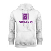 White Fleece Hoodie-Vertical Logomark w/Text