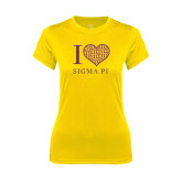 Ladies Syntrel Performance Gold Tee-I Love Sigma Pi