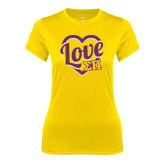 Ladies Syntrel Performance Gold Tee-Love in Heart
