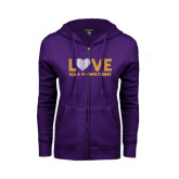 ENZA Ladies Purple Fleece Full Zip Hoodie-Love Sigma Pi Sweetheart Lines
