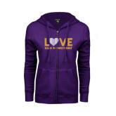 ENZA Ladies Purple Fleece Full Zip Hoodie-Love Sigma Pi Sweetheart Lines