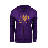 ENZA Ladies Purple Fleece Full Zip Hoodie-I Love Sigma Pi