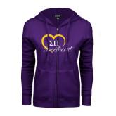 ENZA Ladies Purple Fleece Full Zip Hoodie-Script Sweetheart w/ Heart