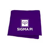 Purple Sweatshirt Blanket-Vertical Logomark w/Text