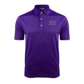 Purple Dry Mesh Polo-Greek Letters Two Tone