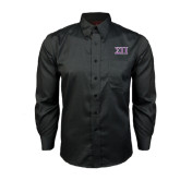 Red House Black Long Sleeve Shirt-Greek Letters Two Tone