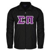 Full Zip Black Wind Jacket-Tackle Twill Greek Letters