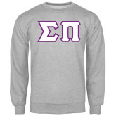 Grey Fleece Crew-Tackle Twill Greek Letters
