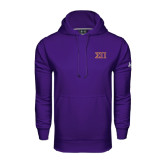 Under Armour Purple Performance Sweats Team Hoodie-Greek Letters Two Tone