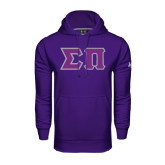 Under Armour Purple Performance Sweats Team Hoodie-Tackle Twill Greek Letters