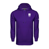 Under Armour Purple Performance Sweats Team Hoodie-Vertical Logomark w/Letters