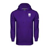 Under Armour Purple Performance Sweats Team Hoodie-Vertical Logomark w/Letters