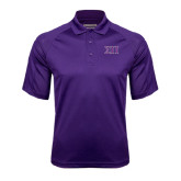 Purple Textured Saddle Shoulder Polo-Greek Letters Two Tone