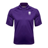 Purple Textured Saddle Shoulder Polo-Vertical Logomark w/Letters
