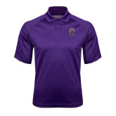 Purple Textured Saddle Shoulder Polo-Crest