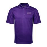 Purple Mini Stripe Polo-Greek Letters Two Tone