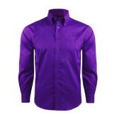 Red House Deep Purple Herringbone Long Sleeve Shirt-Greek Letters