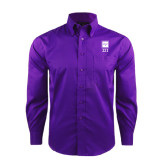 Red House Deep Purple Herringbone Long Sleeve Shirt-Vertical Logomark w/Letters