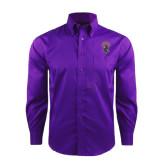 Red House Deep Purple Herringbone Long Sleeve Shirt-Crest