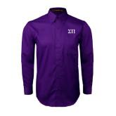 Purple Twill Button Down Long Sleeve-Greek Letters