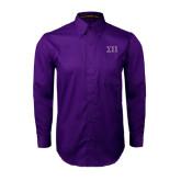 Purple Twill Button Down Long Sleeve-Greek Letters Two Tone