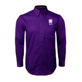 Purple Twill Button Down Long Sleeve-Vertical Logomark w/Letters