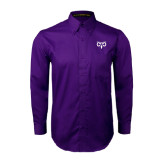 Purple Twill Button Down Long Sleeve-Icon