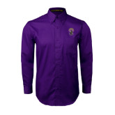 Purple Twill Button Down Long Sleeve-Crest