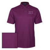 Purple Performance Fine Jacquard Polo-Greek Letters Two Tone