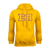 Gold Fleece Hoodie-Tackle Twill Greek Letters