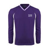 Colorblock V Neck Purple/White Raglan Windshirt-Greek Letters