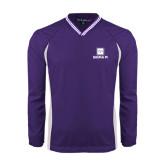 Colorblock V Neck Purple/White Raglan Windshirt-Vertical Logomark w/Text