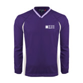 Colorblock V Neck Purple/White Raglan Windshirt-Horizontal Logomark w/Letters