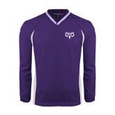 Colorblock V Neck Purple/White Raglan Windshirt-Icon