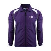 Colorblock Purple/White Wind Jacket-Greek Letters