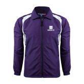Colorblock Purple/White Wind Jacket-Vertical Logomark w/Text