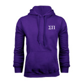 Purple Fleece Hoodie-Greek Letters