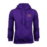 Purple Fleece Hoodie-Greek Letters Two Tone