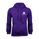 Purple Fleece Hoodie-Vertical Logomark w/Text