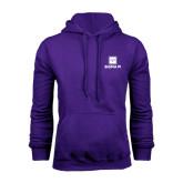 Purple Fleece Hoodie-Vertical Logomark w/Text