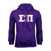 Purple Fleece Hoodie-Tackle Twill Greek Letters