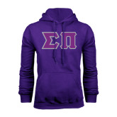 Purple Fleece Hoodie-Tackle Twill Greek Letters