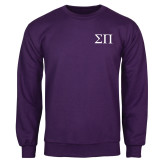 Purple Fleece Crew-Greek Letters