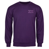 Purple Fleece Crew-Greek Letters Two Tone