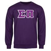 Purple Fleece Crew-Tackle Twill Greek Letters