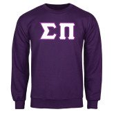 Purple Fleece Crew-Tackle Twill Greek Letters